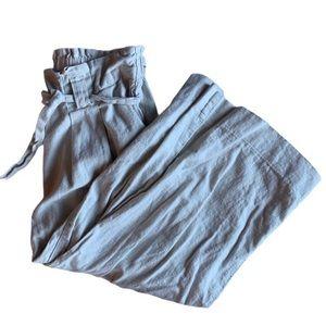 | Linen blend cropped paper bag pants